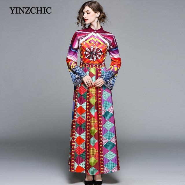 7b65158fa1 Nowa wiosna kobiety sukienka z nadrukiem flare rękaw kobiet długa sukienka  w stylu casual OL maxi w stylu casual sukienka rozrywka sukienka na imprezę