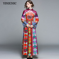 new spring woman printed dress flare sleeve female casual long dress OL casual maxi dress leisure party dress