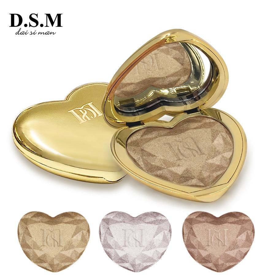 D.S.M Liebe Glow Highlighter Make-Up Gedrückt Pulver Erhellen Wasserdicht Öl-control Kosmetische Make-Up Concealer Hervorhebung Pulver