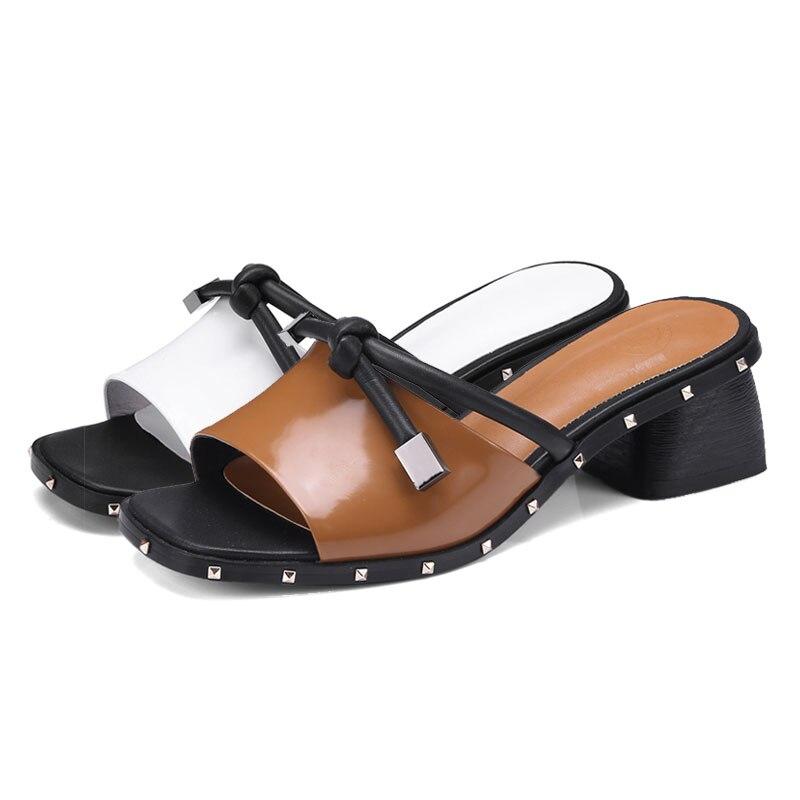 Fanyuan pantoufles femmes chaussures d'été talons hauts en cuir de vache Rivet gladiateur Slingback sandales décontracté bureau dames tongs - 4