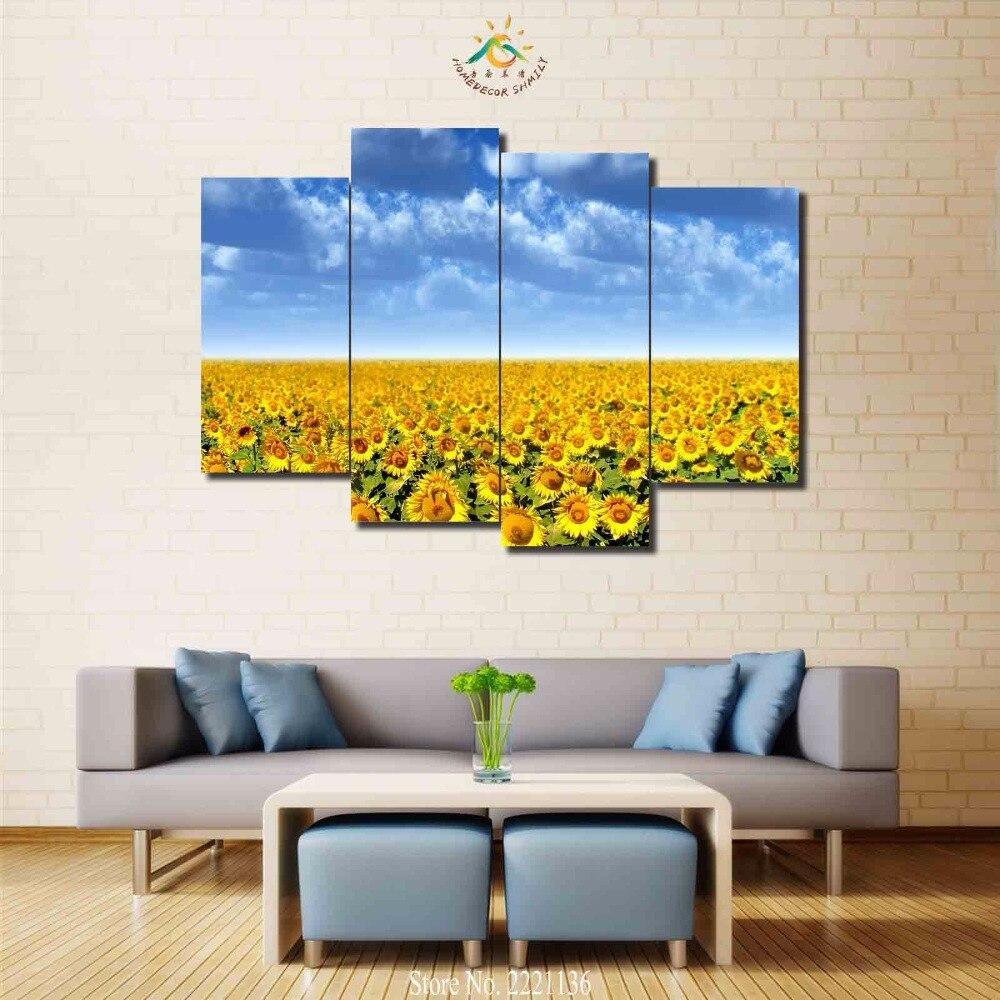 3 4 5 teile/los Sonnenblumenfeld HD Pinted Malen Home Decoration ...