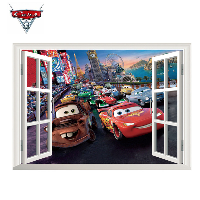 Disney Pixar Car Sticker Lightning McQueen 3D Stereo Mural PVC Waterproof Self-adhesive Bedroom Decoration Toy Children Gift diy car decoration car sticker art mural with angels and demons pattern