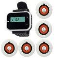 Беспроводной Ресторан Пейджер Система с 5 шт. Белый Кнопка Вызова Официанта Пейджер + 1 Black Watch Приемник для Отеля Coaster F3232A