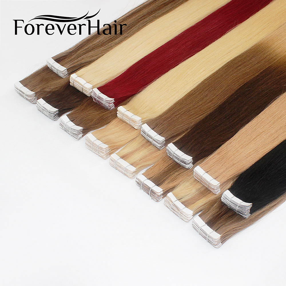 FOREVER HAIR 2.0g/pc 16 18 20 Tape In Natural Human Hair Extensions Ash Blonde European Skin Weft Remy Hair Extension 40g/pac image