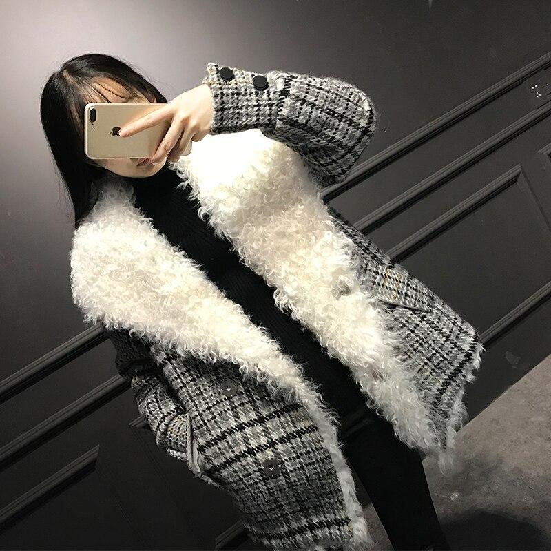 2018 New Style Women Mongolian Lamb Fur Coat Long Winter Warm Plaid Genuine Leather And Fur Jackets Womans Winter Coats