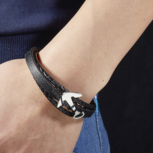 2018 Black leather bracelet anchor men personality unique charm of the students hand-woven Gift