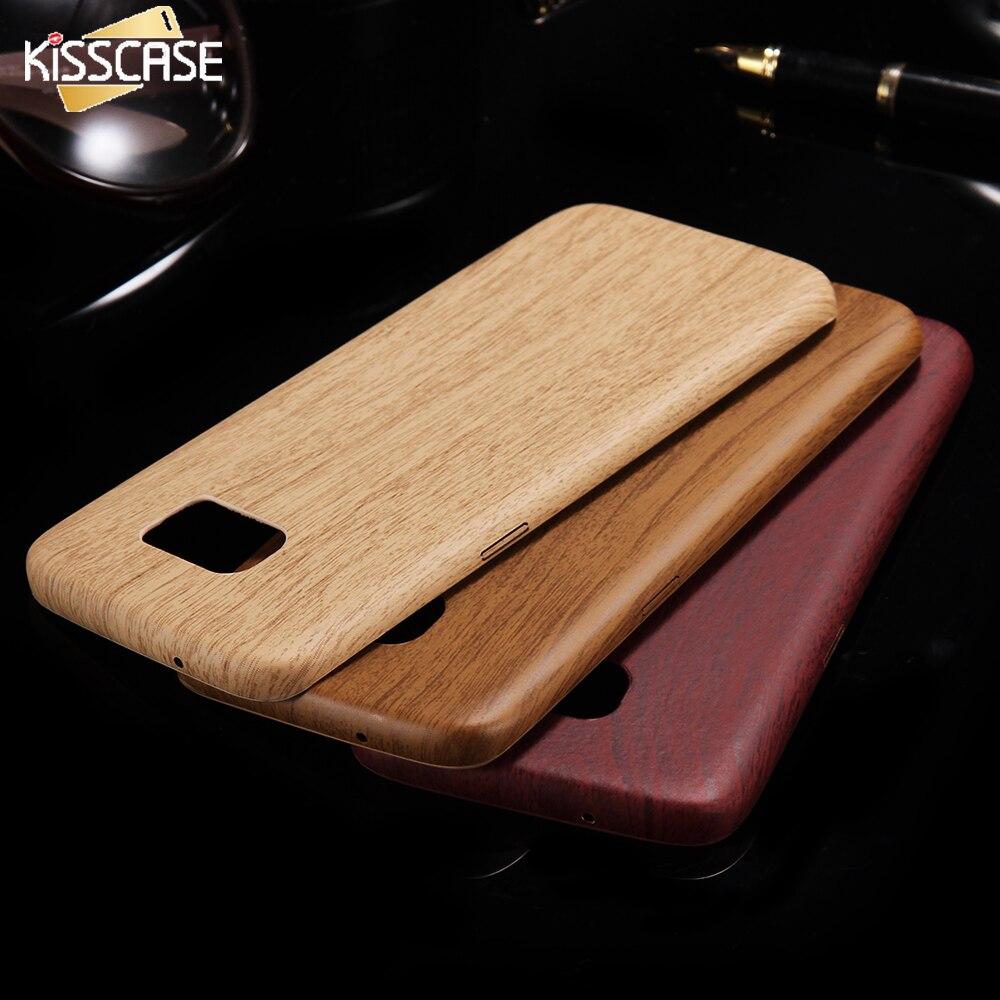 Kisscase s6 s7 borde! vintage case cubierta de madera de bambú para samsung gala