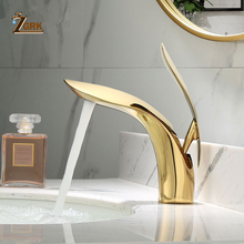 ZGRK Basin Faucets Elegant Bathroom Faucet Hot and Cold Water Mixer Tap Golden Finish Brass Toilet Sink