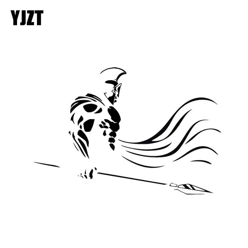 YJZT 14.3*9.8CM Fashion Handsome Roman Soldier Covering The Body Cool Warrior Decal BlackSilver Car Sticker Vinyl C20-1716