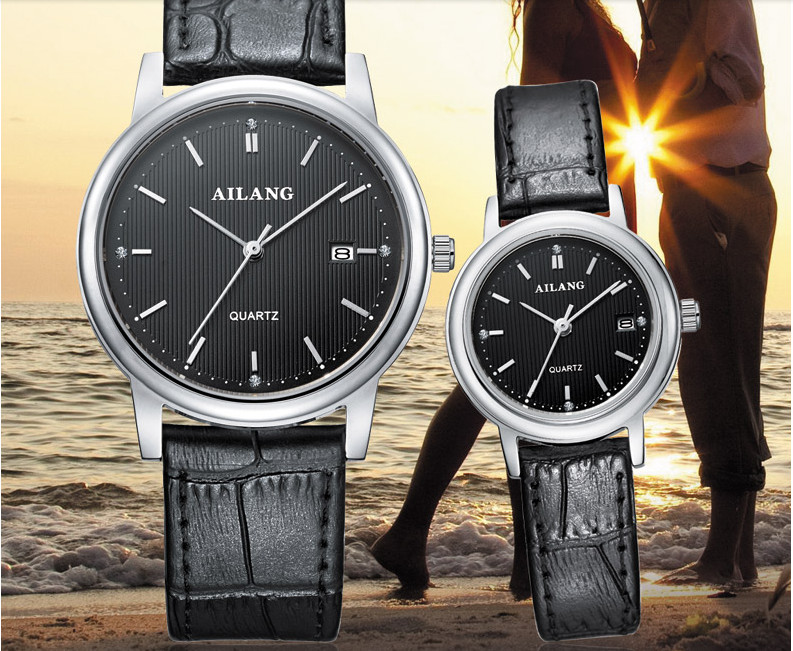AILANG Business Style Lovers Wristwatches Simple Fashion Men Women Real Leather Watches Quartz Calendar Watch Couples Reloj A101 muhsein hot sellingnew lovers quartz watches stainless steel watch business women dress watches for couples free shipping