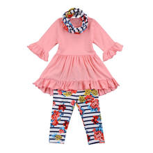 Kids Girls Long Sleeve T-shirt Ruffles Tops Dress + Striped Floral Pants  Outfits Clothes Set 021a71549aaa