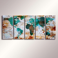 World Map Painting High Quality Printed Colorful World Map Modern Wall Art Painting Abstract Painting Free