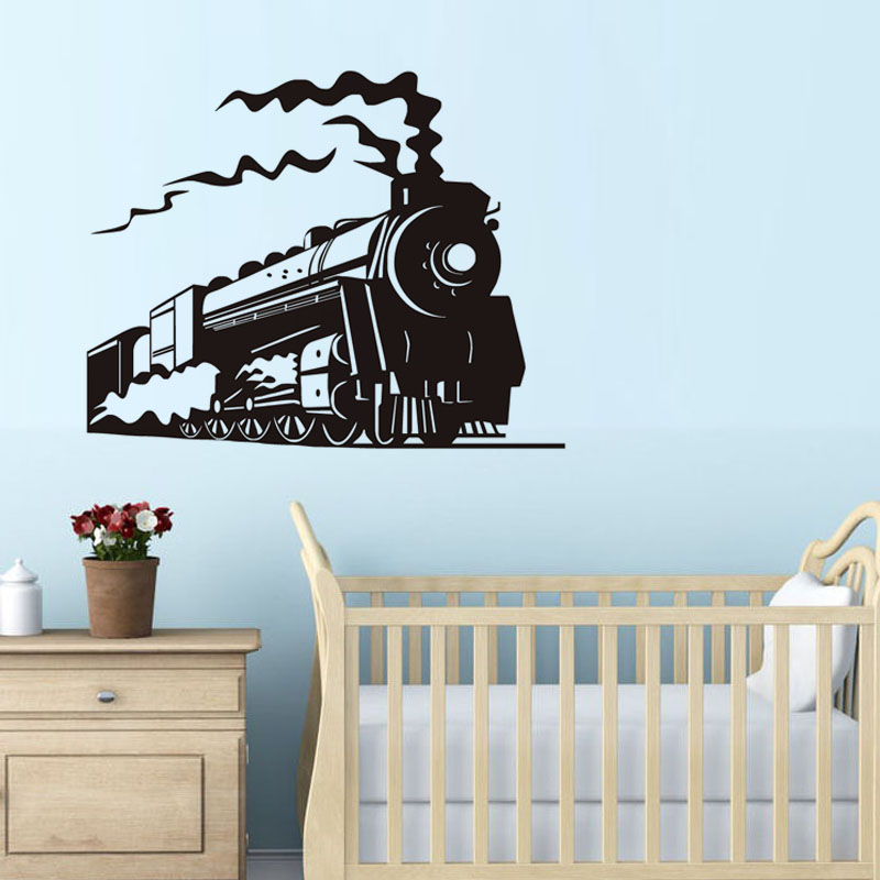 Merveilleux New Design Locomotive Steam Train Wall Decals Funny Kids Room Wallpaper  Vehicle Vinyl Wall Stickers In Wall Stickers From Home U0026 Garden On  Aliexpress.com ...