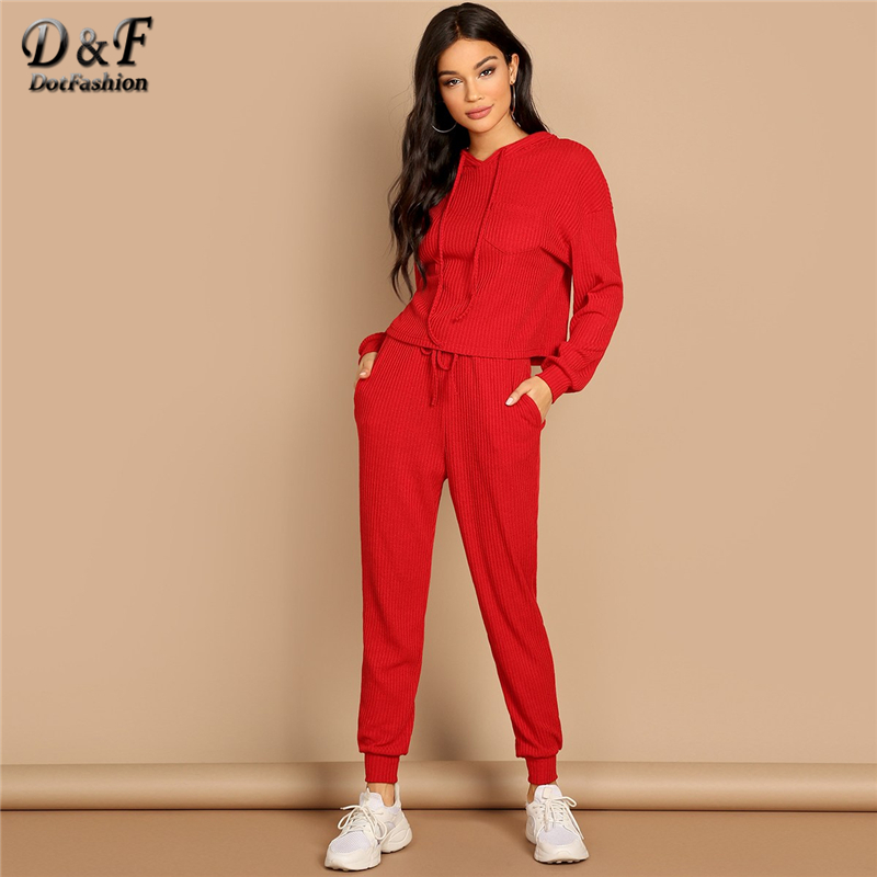 a010082cc95 Dotfashion Red Pocket Patched Solid Hoodie And Drawstring Waist Pants Set  Womens 2019 Fashion Autumn Casual