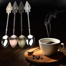 Ложка для сахарного чая, десерта, торта, ретро кофе, Хрустальная ручка, маленькая кофейная ложка, сахарный чай, десертные столовые приборы, кухонная посуда# YY