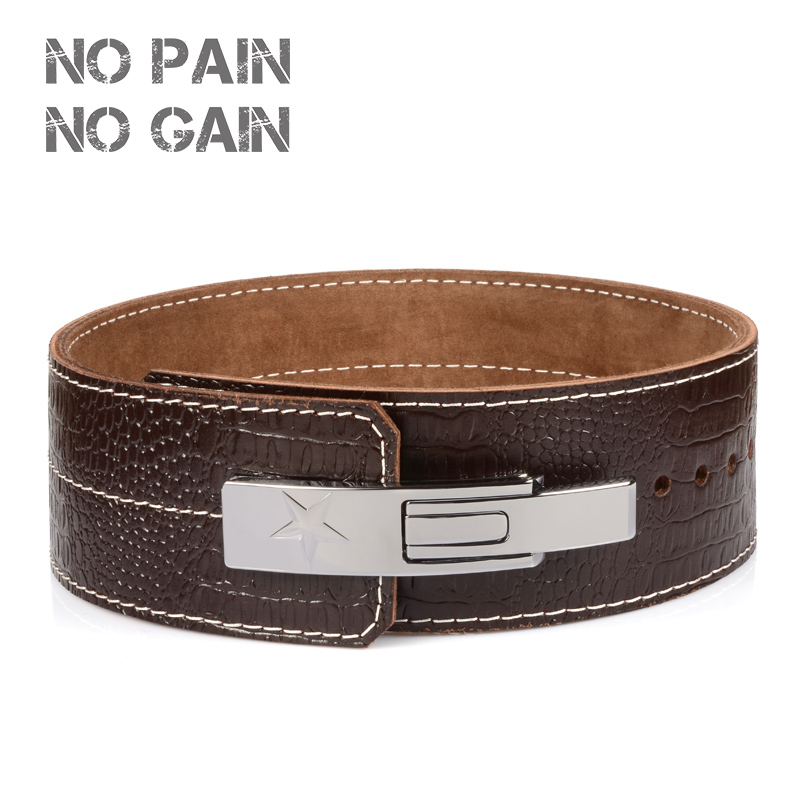 NO PAIN NO GAIN Weightlifting Belt  Fitness Weight lifting Back Support Power Training Blet Equipment Cowhide Leather GGKYD fitness arm blaster adjustable aluminum bodybuilding bicep curl blaster bomber weight lifting training straps gym equipment