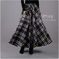 2016 New Women Long Wool Skirts Autumn&Winter Fashion Plaid Thick Woolen Skirts Plus Size A-Line Skirts Casual Maxi Skirt LS313