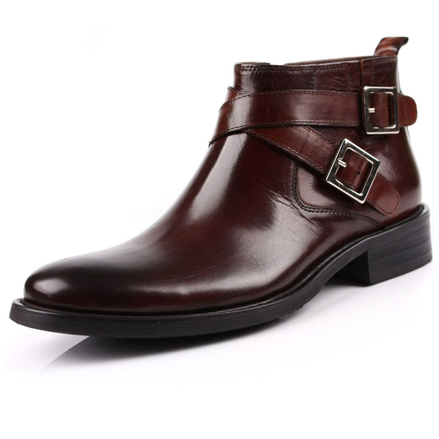 5061b5e3aaf6a New Classic Men's real leather Ankle Boots STRAP BUCKLE Inside Zip Formal  Shoes black Or Brown Size 5.5~12 us