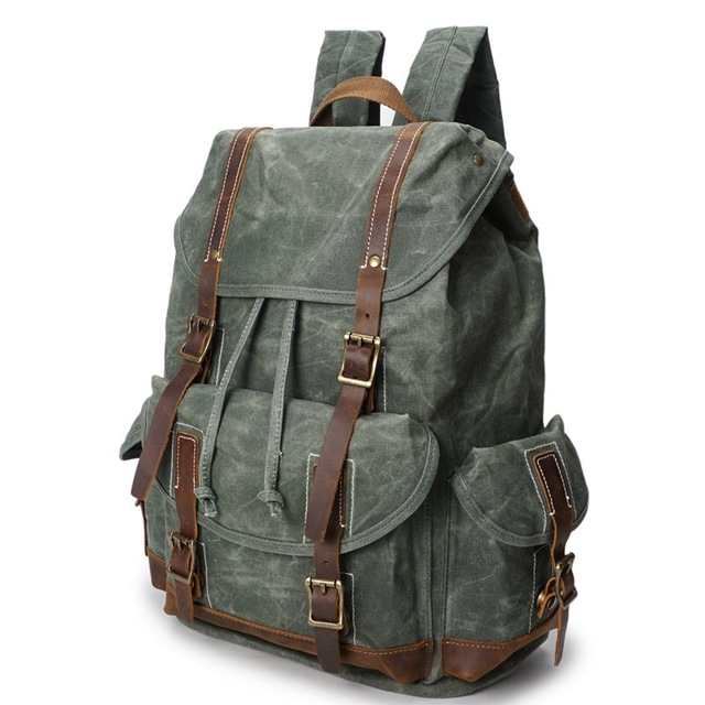 2018 Vintage Waxed Canvas Men Backpack Large capacity Military Oiled Leather School Backpack Male Rucksack Waterproof Travel Bag m15 m20 m25 304 stainless steel wire rope single double wheel fixed pulley crown block universal lifting swivel traction sheave