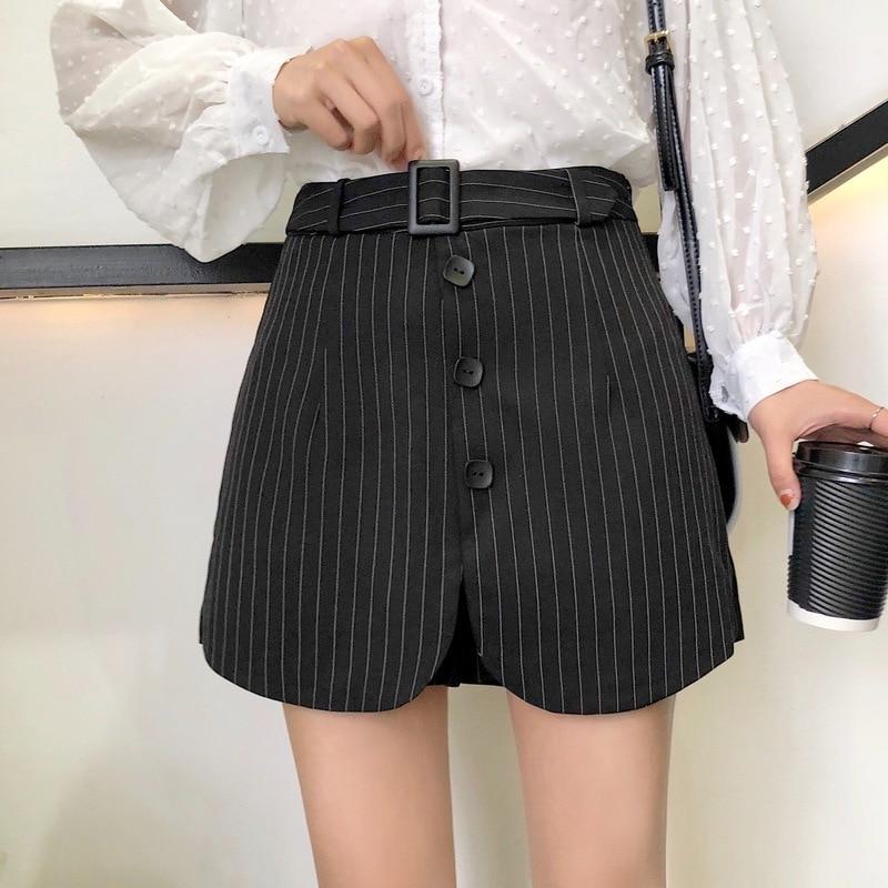 Plus Size Women Skirt Plaid Skirt Waist Belt Button High Waist 2019 New Fashion Loose Casual Short Skirt Female Mini Skirt