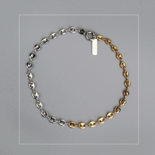 Chain Necklace short fashion Gold And Silver filled double Color Justine pig nose clavicle chain Layered Jewelry Korea