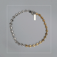 Chain Necklace short fashion Gold And Silver filled double Color Justine pig nose clavicle chain Layered Jewelry Korea Necklace