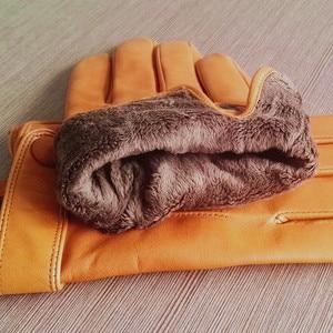 Image 5 - Gours guantes de piel auténtica para hombre, guantes de piel de cabra a la moda, negros, para conducir, con pantalla táctil, GSM036