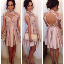 Cocktail-Dresses Short Lace Pink Sexy Mini Cheap Backless High A-Line Women
