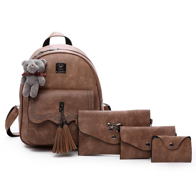 Women 5 Pcs/Set PU Leather School Shoulder Bag Vintage Backpack