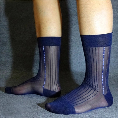 Men's Silk formal socks visible See through sexy Males suit socks 7 colors available gentleman Men's socks sexy stockings