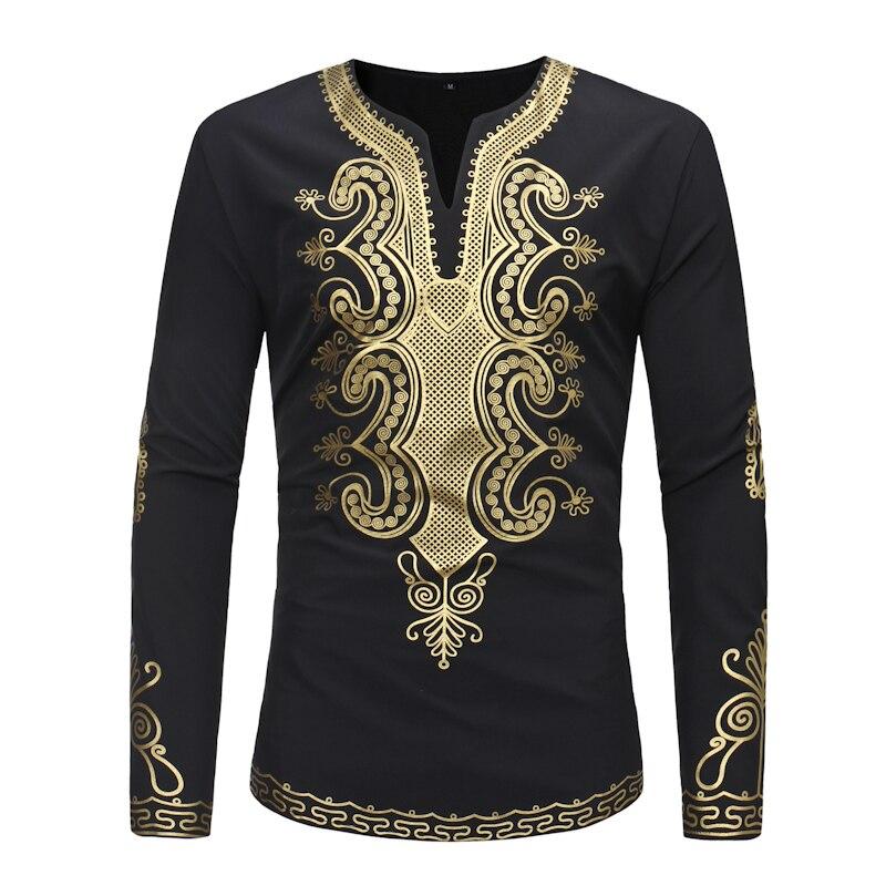Été hommes haut à la mode vêtements africains afrique robe imprimer à manches longues t-shirt pour hommes taille M-3XL