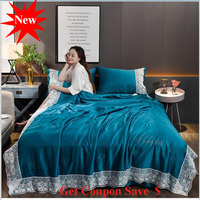 Lace Edge ice silk summer quilt set 4pcs summer duvet pillowcase bed sheet sets air conditioning quilt blanket free shipping