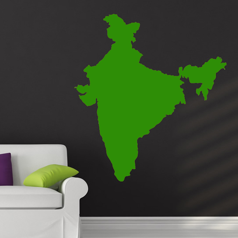 DCTOP Vinyl India Map Wall Sticker Removable Living Room Wall
