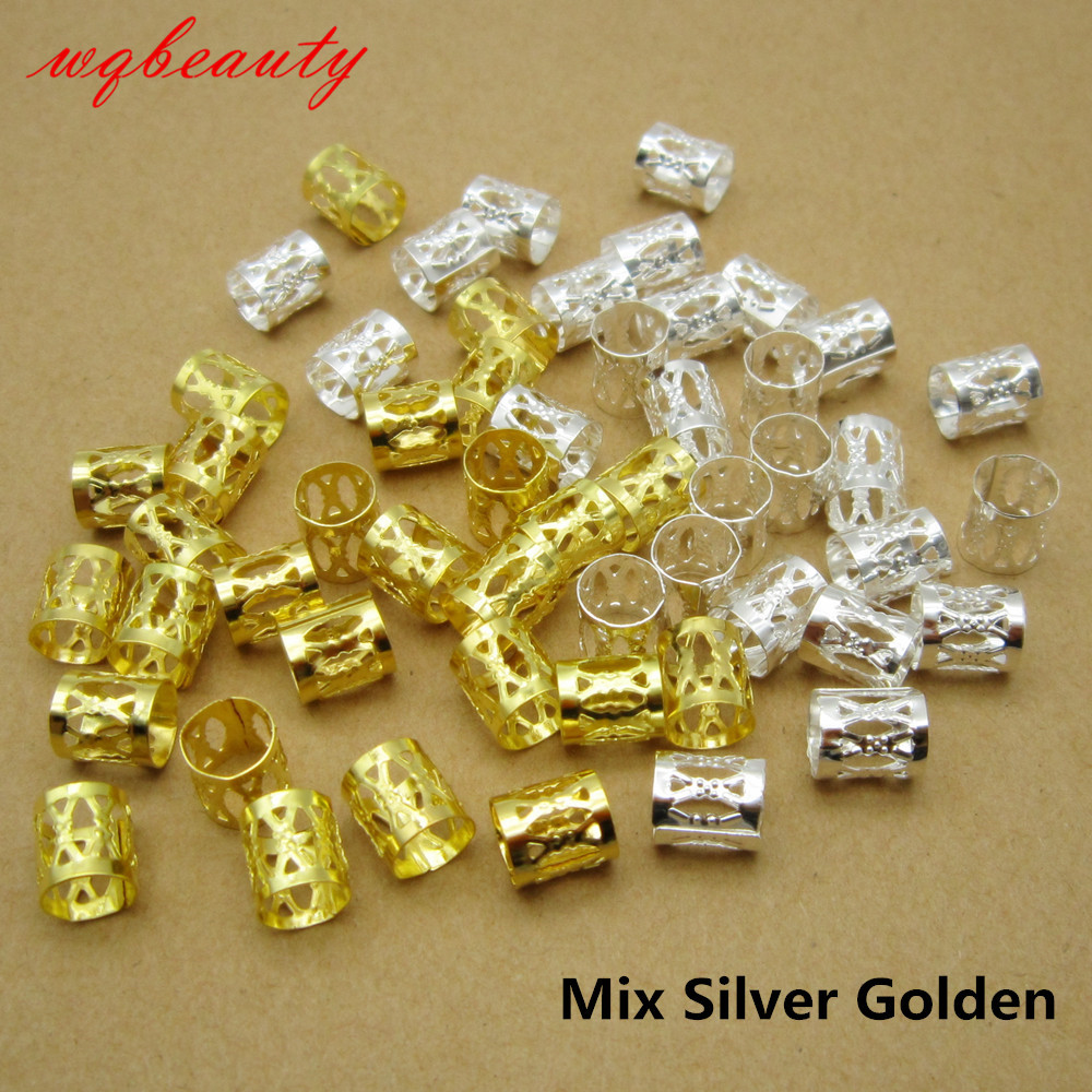 100Pcs/Lot Golden/Silver/Mix Silver Golden Micro Hair Dread Braids Dreadlock Beads Adjustable Cuffs Clips For Hair Accessories(China)