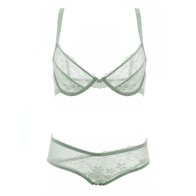 Pretty Mary Women Thin Bra and Panties Set See Though