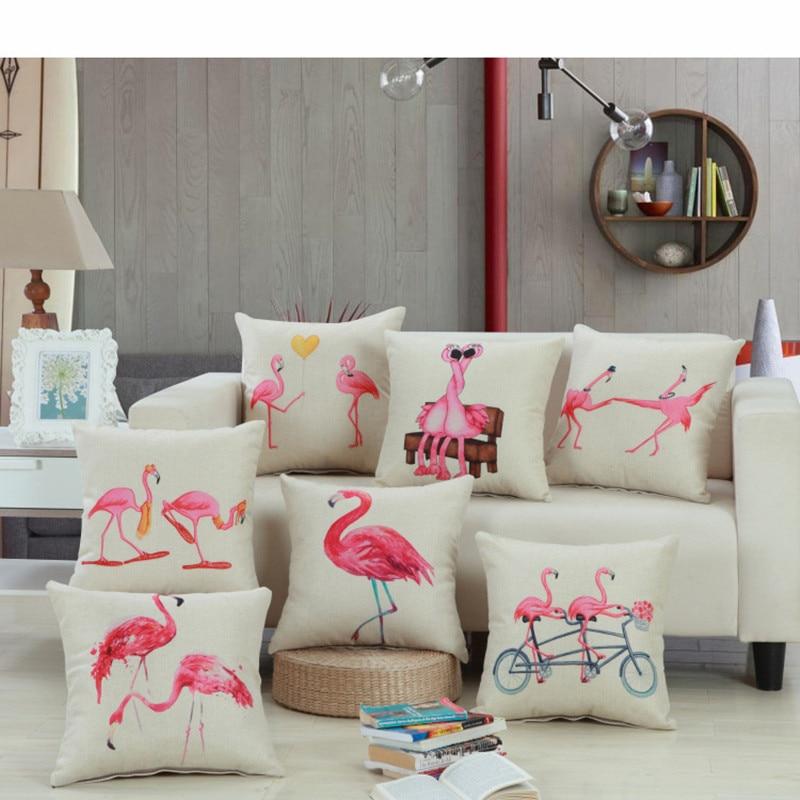 45x45cm/17.72x17.72 Flamingo Cushion Cover Cotton Linen Decorative Throw Pillow Cover Seat Sofa Embrace Pillow Case Home Decor