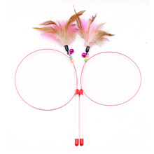 Cat Toy Feather Wand 100cm Length with Natural Feathers and Colorful Small Bell Are Guaranteed To Drive Your Wild
