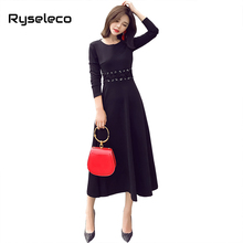 Ryseleco Vintage Solid Full Sleeve A-Line Women Little Black Dress Elegant Slim Lace Up Waist O-Neck Casual Classic Swing Dress