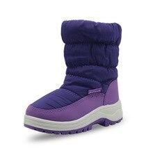 ULKNN Winter new girls shoes children anti-skid mixed wool lining thick warm snow boots cotton Kids Boats