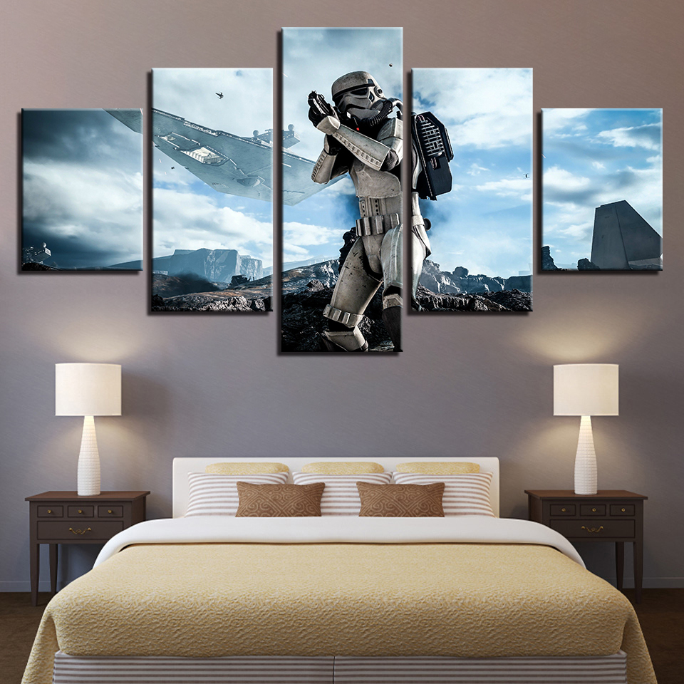 Painting Style Wall Modular 5 Panel Movie Star Wars Art Canvas Pictures Decoration For Living Room Cuadros Modern Framework image