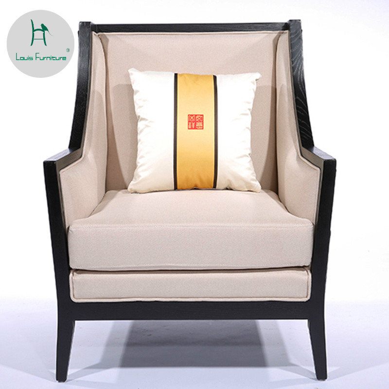 US $606.9 |Louis Fashion Living Room Sofas Solid Wooden Zen Modern Printed  Cloth Hotel Model Rooms-in Living Room Chairs from Furniture on AliExpress