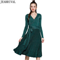 2019 Fashion Long Sleeve Knitted Autumn Winter Dress Women Sexy V Neck Vintage Sequines Casual Pleated Wrap Dress Party Vestidos