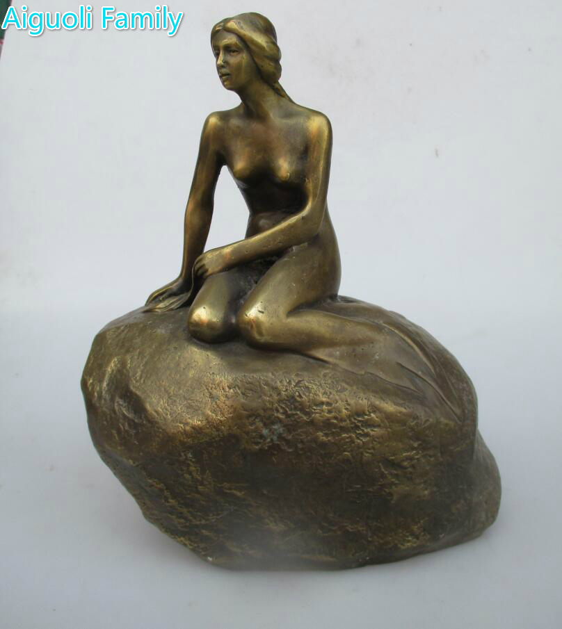 Wedding decoration Old Copper Carved Mermaid Statue/Art collectionHome Decoration Mermaid Sculpture