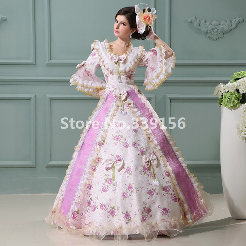 Pink Printed Bow Victorian Medieval Wedding Gowns Civil