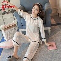Bejirog White Stripe Women S Sleep Clothes Knitted Cotton Cardigan Long Sleeve Pajama Sets For Female