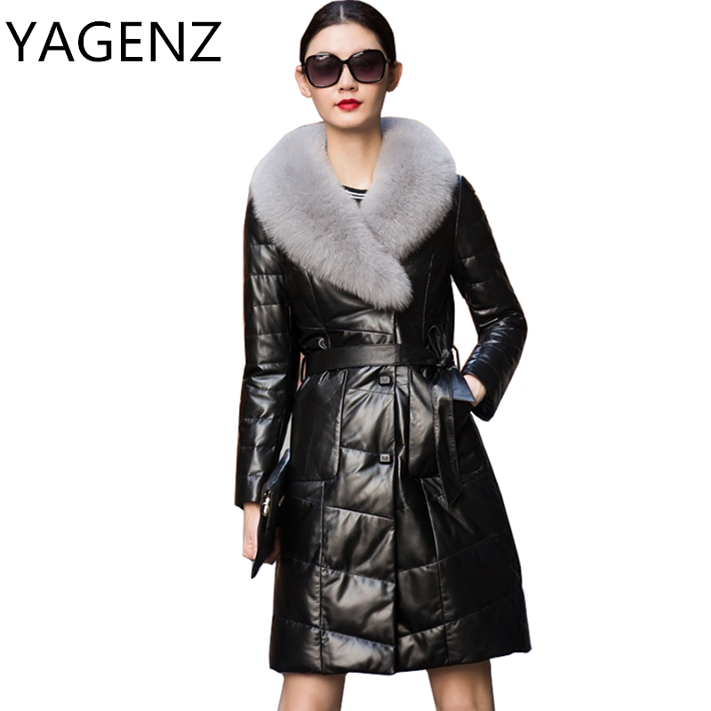 YAGENZ Fox Fur Collar   Leather   Jacket Winter Women Plus size M-6XL Down Long Coats High Quality Black   Leather   Female Overcoat