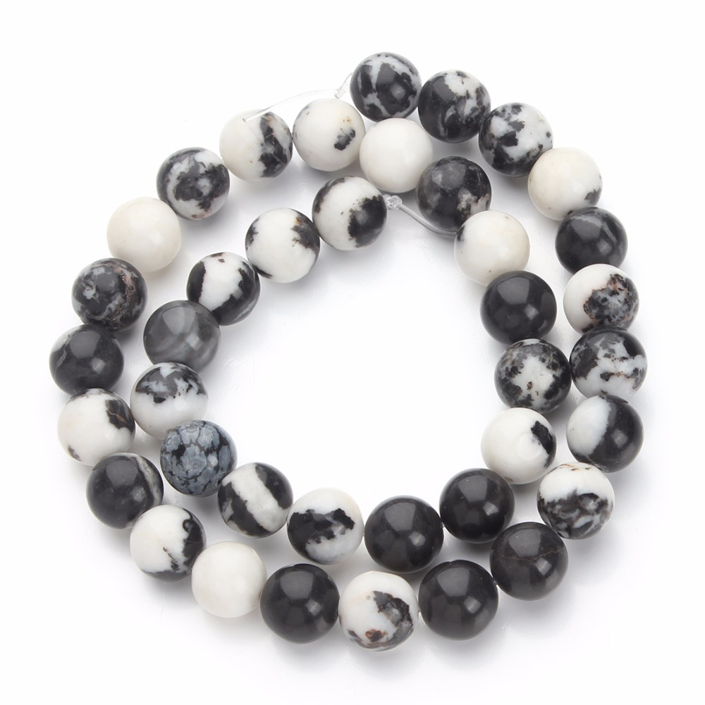 LOULEUR 1Strand Natural Stone Black White Bead 4mm 6mm 8mm 10mm 12mm Round Loose Beads For Bracelet Jewelry Making