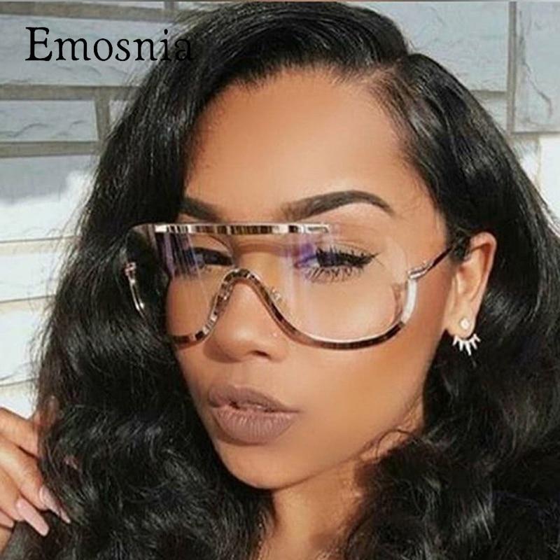 Emosnia Rimless Gold Clear Sunglasses Men Women 2017 Brand Designer Aviator Clear Sunglasses Big Frame Sun Glasses Lunette Femme