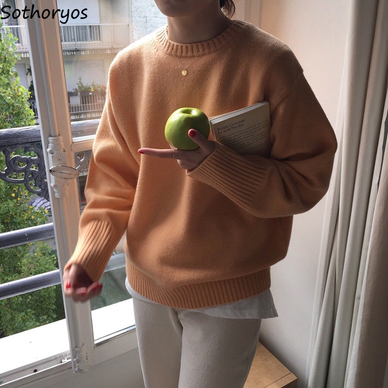 Pullovers Women 2020 Long Sleeve O-Neck Solid Womens Cute Simple Loose Korean Style All-match Trendy Tops Pullover Chic Elegant
