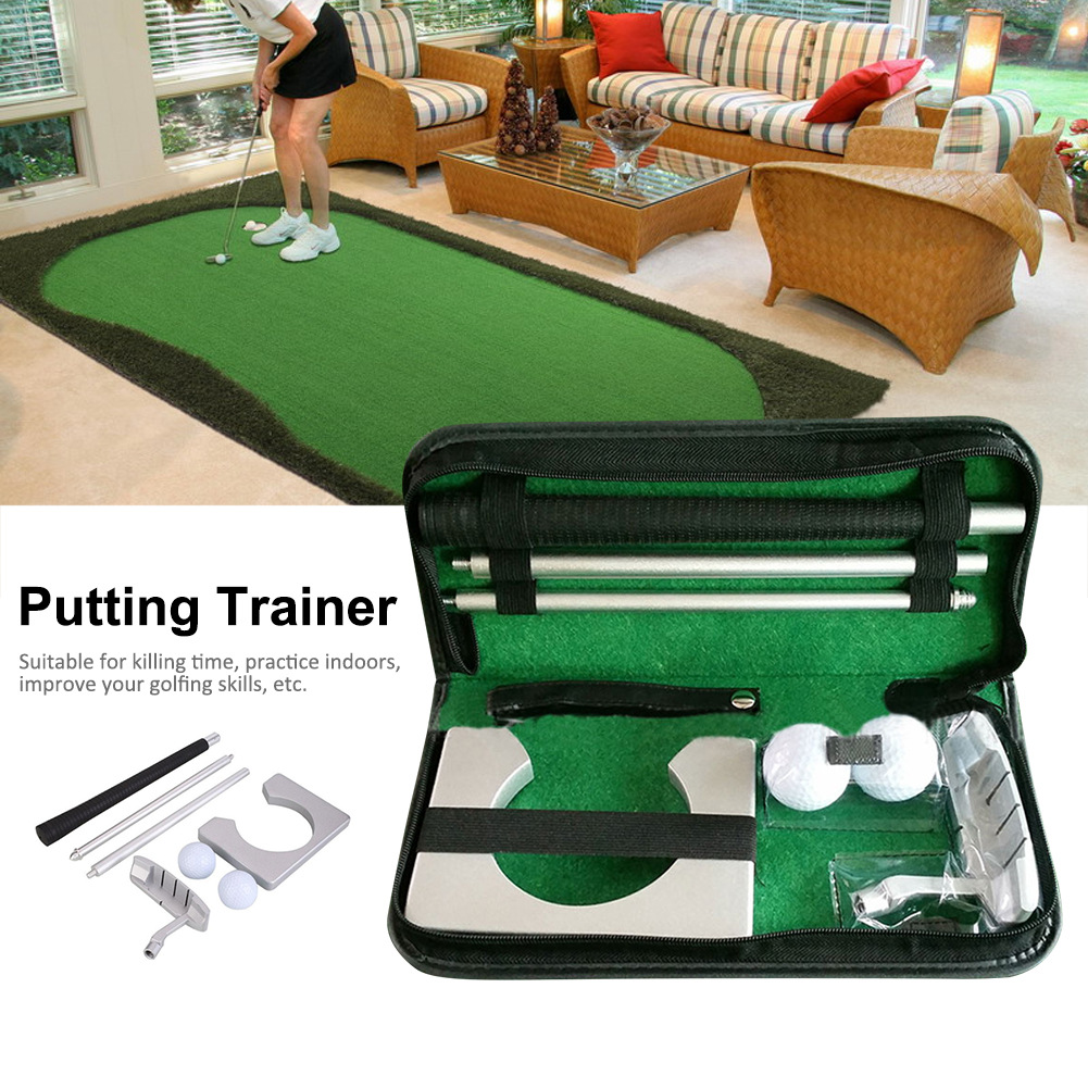 Portable Golf Putter Putting Trainer Set Indoor Training Equipment Golfs Ball Holder Training Aids Tool with Carry Case 11